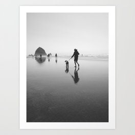 beach goers - canon beach, OR Art Print