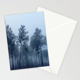Fog and Forest II-wood,mist,romantic, greenery,sunset,dawn,Landes forest,fantasy Stationery Cards