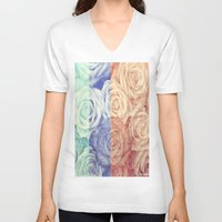 vintage flowers V-neck T-shirts featuring Vintage Flowers by Del Vecchio Art by Aureo Del Vecchio