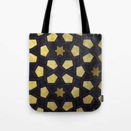 Contemporary Geometric Pattern Accented By Gold Stars Tote Bag