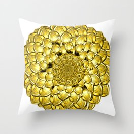 """""""Gold"""" Dahlia Flower Special Edition 2 (Clear Back) Throw Pillow"""