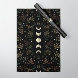 Moonlight Garden - Olive Green Wrapping Paper