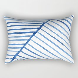 Abstract geometric blue stripes watercolor print Rectangular Pillow