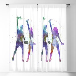 woman exercising with man coach Blackout Curtain