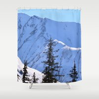 skiing Shower Curtains featuring Back-Country Skiing  - V by Alaskan Momma Bear