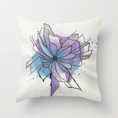 Explosion Flower Blue and Purple Throw Pillow