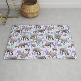 Sweet Elephants in Aqua, Purple, Cream and Grey Rug