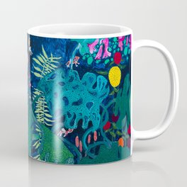 Brightly Rainbow Tropical Jungle Mural with Birds and Tiny Big Cats Coffee Mug