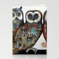 medieval Stationery Cards featuring medieval owls by oxana zaika