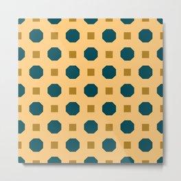 Vintage geometric on orange Metal Print