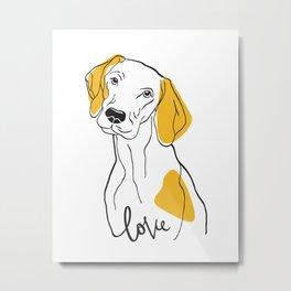 Dog Modern Line Art Metal Print