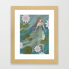 ophelia in the river from shakespeare hamlet scene Framed Art Print