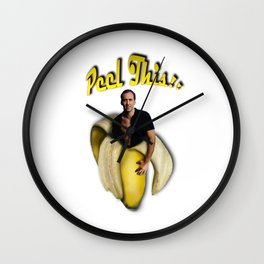 Nicolas Cage in a peeled banana Wall Clock
