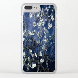Vincent Van Gogh Almond Blossoms Dark Blue Clear iPhone Case