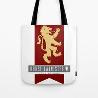 lannister Tote Bags featuring House Lannister Sigil by P3RF3KT