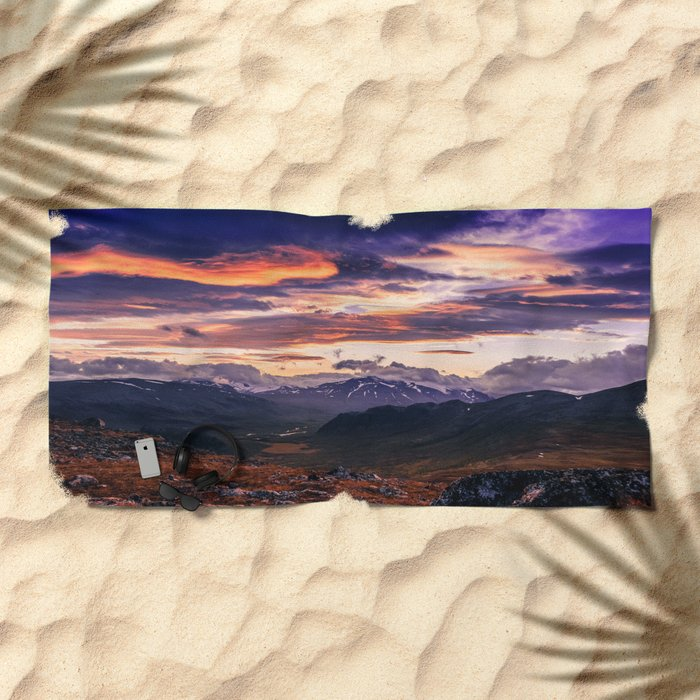 Cloud Covered Mountains Beach Towel
