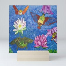 Hummingbird Moth and Frog Mini Art Print