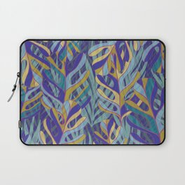 Tropical Leaves, blue and mustard pattern Laptop Sleeve