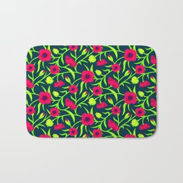 Floral pattern with red blooms Bath Mat
