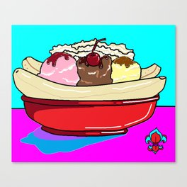 """A Banana Split with """"the works"""" Canvas Print"""