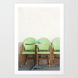 Green Cafe Chairs, Paris Art Print