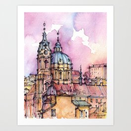 Prague ink & watercolor illustration Art Print