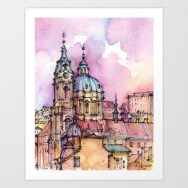 Prague ink & watercolor illustration Art Print