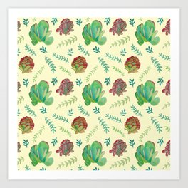 Paddle Plant Pattern Art Print