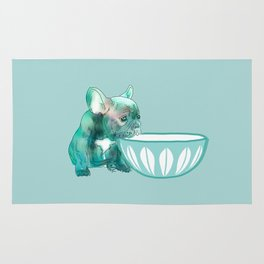 Dog with bowl #1 Blue Rug