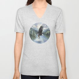 Eagle with Fish Unisex V-Neck