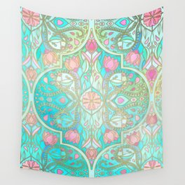 Floral Moroccan in Spring Pastels - Aqua, Pink, Mint & Peach Wall Tapestry