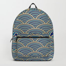 Festive, Art Deco, Wave, Pattern, Blue and Gold Backpack