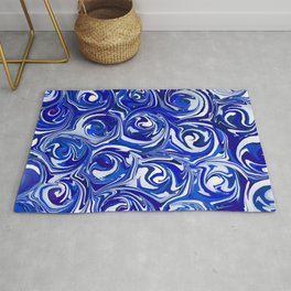 China Blue Paint Swirls Rug