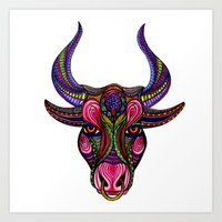bull Art Prints featuring Bull by Britney Elizabeth