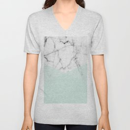 Real White Marble Half Mint Green Shapes Unisex V-Neck