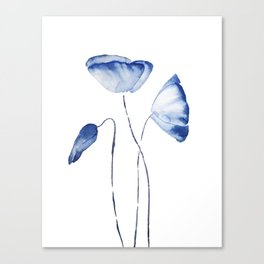indigo poppy watercolor Canvas Print