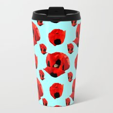 Poppies 5 with Turquoise Background Travel Mug
