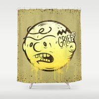 peanuts Shower Curtains featuring Grief by Beery Method