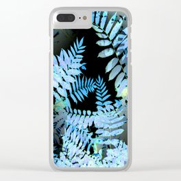 Seamless Blue Leaves Clear iPhone Case
