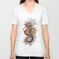 seahorse V-neck T-shirts featuring Seahorse by TAOJB