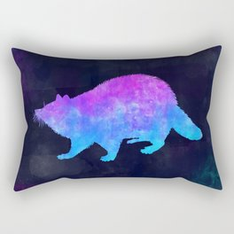 RACCOON IN SPACE // Animal Graphic Art // Watercolor Canvas Painting // Modern Minimal Cute Rectangular Pillow