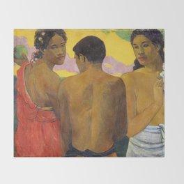 Three Tahitians by Paul Gauguin Throw Blanket