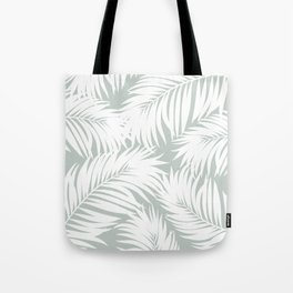 Palm Tree Fronds White on Rainwashed Maui Hawaii Tropical Graphic Design Tote Bag