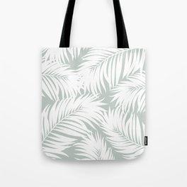 Palm Tree Fronds White on Rainwashed Maui Hawaii Tropical Graphic Design Tote Bag