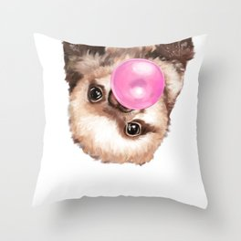 Baby Sloth Playing Bubble Gum Throw Pillow