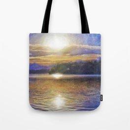 Sun Rising Over Lake - Art Edit Tote Bag
