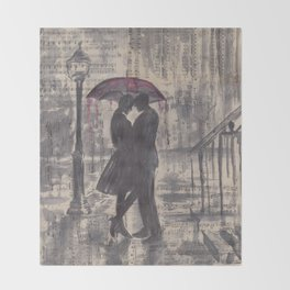 Silouette lovers on rainy street Throw Blanket