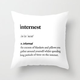 Internest black and white contemporary minimalism typography design home wall decor bedroom Throw Pillow
