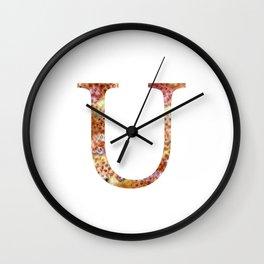 """Initial letter """"U"""" Wall Clock"""