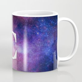 Monogrammed Logo Letter C Initial Space Blue Violet Nebulaes Coffee Mug